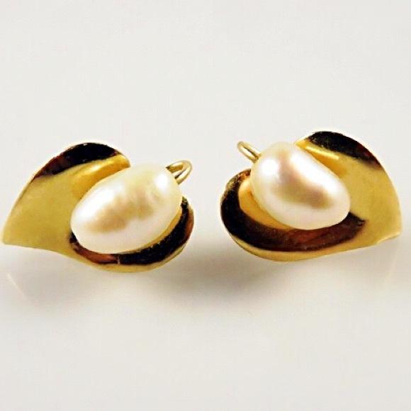 e820d415c Jewelry   14k Gold Estate Baroque Pearl Earrings   Poshmark